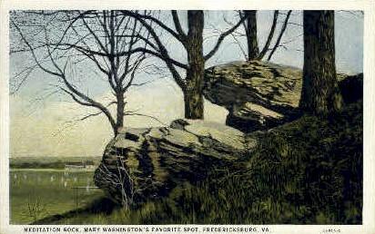 Meditation Rock - Fredericksburg, Virginia VA Postcard