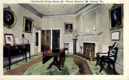 Family Dinning Room - Mt Vernon, Virginia VA Postcard
