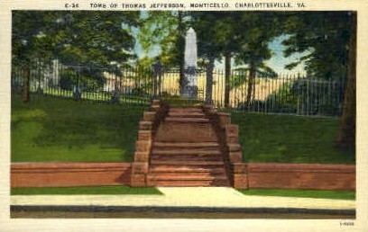 Tomb of Thomas Jefferson - Charlottesville, Virginia VA Postcard