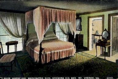 Room where George Washington Died - Mt Vernon, Virginia VA Postcard