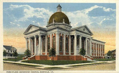 Park Place Methodist Church - Norfolk, Virginia VA Postcard