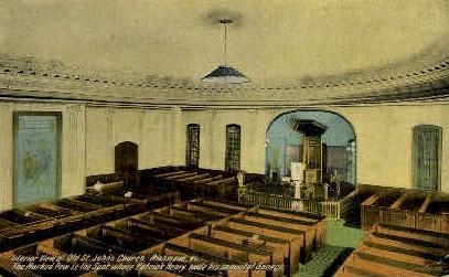 Interior of Old St. Johns Church - Richmond, Virginia VA Postcard