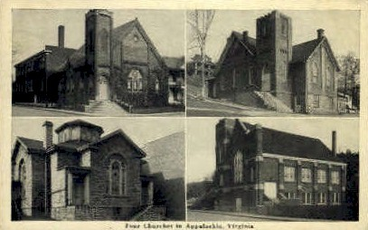 Four Churches - Appalachia, Virginia VA Postcard