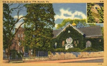 Old St. Paul Church - Norfolk, Virginia VA Postcard
