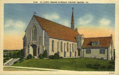St. Annes Roman Catholic Church - Bristol, Virginia VA Postcard