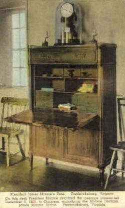 President James Monroes Desk - Fredericksburg, Virginia VA Postcard