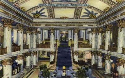 Lobby, Hotel Jefferson - Richmond, Virginia VA Postcard