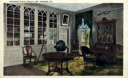 Washingtons Library - Mt Vernon, Virginia VA Postcard