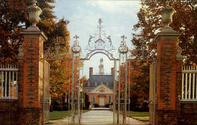 Palace Gates - Williamsburg, Virginia VA Postcard