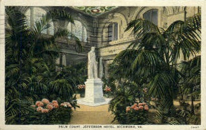 Palm Court, Jefferson Hotel - Richmond, Virginia VA Postcard
