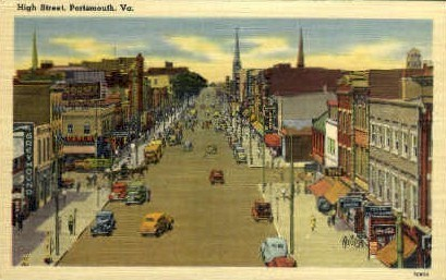 High St. - Portsmouth, Virginia VA Postcard