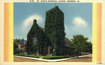 St. Johns Episcopal Church - Roanoke, Virginia VA Postcard