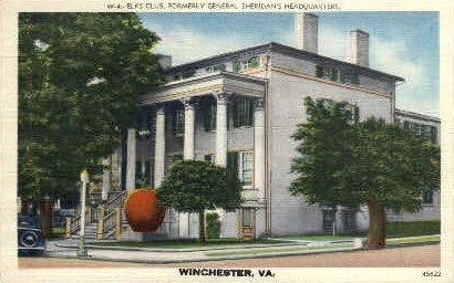 Elks Club - Winchester, Virginia VA Postcard