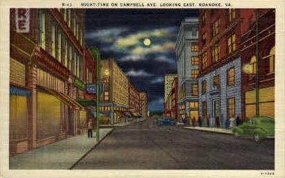 Campbell Ave. - Roanoke, Virginia VA Postcard