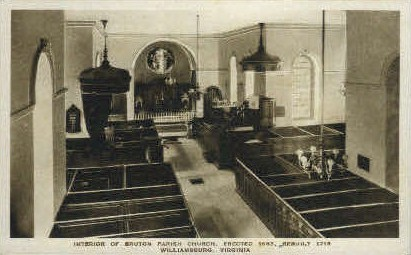 Interior of Bruton Parish Church - Williamsburg, Virginia VA Postcard
