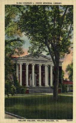 Charles L. Cocke Memorial Library - Hollins College, Virginia VA Postcard