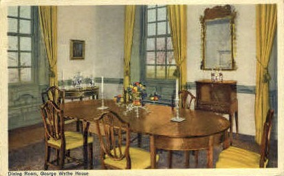 Dining Room, George Wythe House - Williamsburg, Virginia VA Postcard