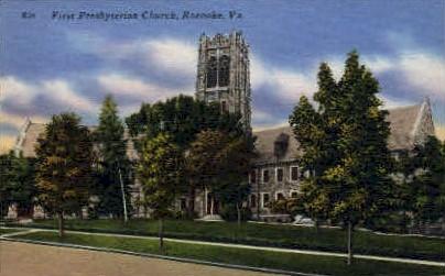 1st Presbyterian Chruch - Roanoke, Virginia VA Postcard