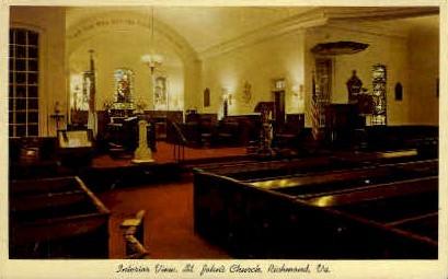Interior View of St. Johns Church - Richmond, Virginia VA Postcard