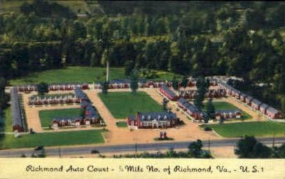 Richmond Auto Court - Virginia VA Postcard