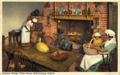 Kitchen, George Wythe House - Williamsburg, Virginia VA Postcard