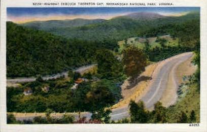 Highway through Thornton Gap - Misc, Virginia VA Postcard