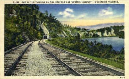Tunnel, Norfolk & Western Railway - Misc, Virginia VA Postcard