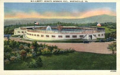 Liberty Heights Swimming Pool - Martinsville, Virginia VA Postcard