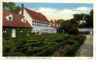 The Gardens, Home of Washington - Mt Vernon, Virginia VA Postcard