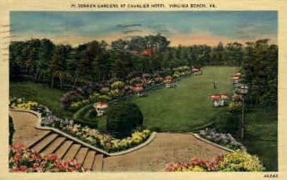 Sunken Gardens, Cavalier Hotel - Virginia Beach Postcards, Virginia VA Postcard