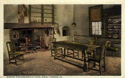 Martha Washingtons Kitchen - Mt Vernon, Virginia VA Postcard