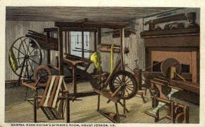 Martha Washingtons Spinning Room - Mt Vernon, Virginia VA Postcard