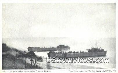 Landing Ships Tank onto Beach  - Camp Bradford, Virginia VA Postcard
