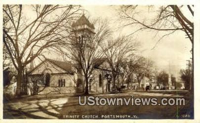 Trinity Church , Real Photo - Portsmouth, Virginia VA Postcard