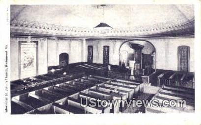 Interior Of St Johns Church  - Richmond, Virginia VA Postcard