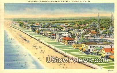 Beach And Promenade  - Vriginia Beach, Virginia VA Postcard