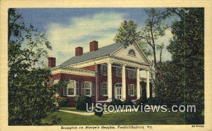 Brompton On Maryes Heights  - Fredericksburg, Virginia VA Postcard