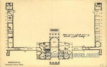 Monticello Floor Paln  - Charlottesville, Virginia VA Postcard