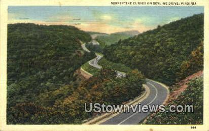 Serpentine Curves  - Skyline Drive, Virginia VA Postcard