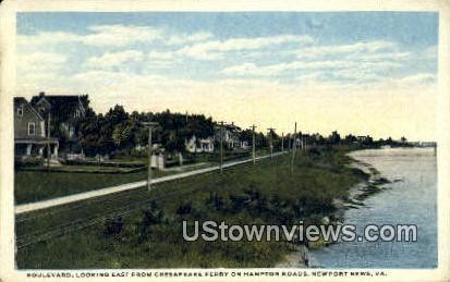 Boulevard Looking East  - Newport News, Virginia VA Postcard