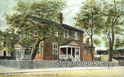Residence of Chief Justice Marshall  - Richmond, Virginia VA Postcard