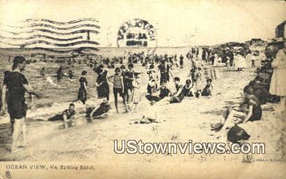 Bathing Beach  - Ocean View, Virginia VA Postcard