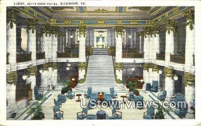 Lobby Jefferson Hotel  - Richmond, Virginia VA Postcard