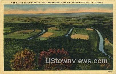 Seven Bends of  Shenandoah River  - Shenandoah Valley, Virginia VA Postcard