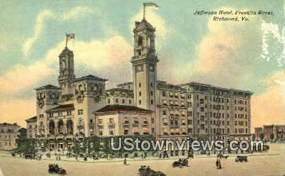 Jefferson Hotel Franklin Street - Richmond, Virginia VA Postcard