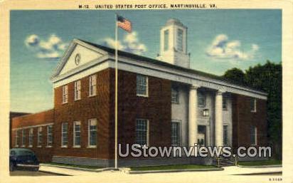 United States Post Office  - Martinsville, Virginia VA Postcard