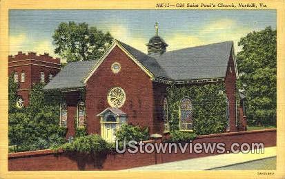 Old Saint Pauls Hcurch  - Norfolk, Virginia VA Postcard