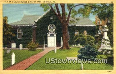 Pauls Church  - Norfolk, Virginia VA Postcard