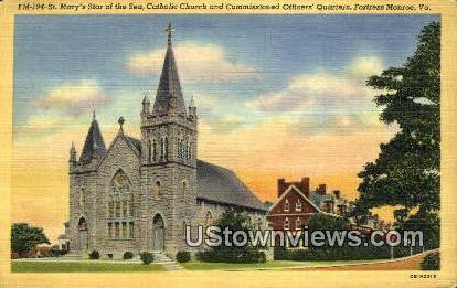 St Marys Star Sea Catholic Church  - Fortress Monroe, Virginia VA Postcard