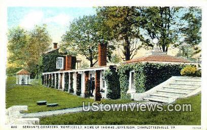 Monticello Servants Quarters - Charlottesville, Virginia VA Postcard
